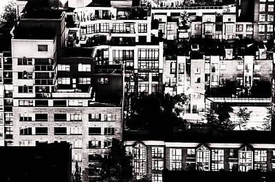 Poster featuring the photograph Black And White - Juxtaposed And Intimate Vancouver View At Night - Fineart Cards by Amyn Nasser