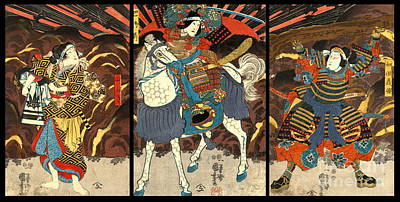 Kabuki Actors Triptych 1848 Poster by Padre Art