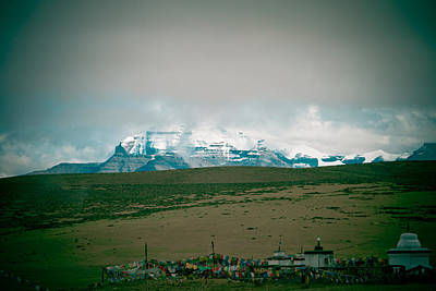 Kailas Mountain Home Of The Lord Shiva View From Manasarovar Poster