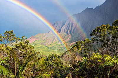 Kalalau Valley Rainbow Poster by Guy Schmickle