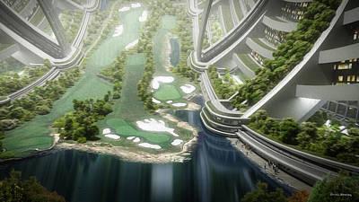 Poster featuring the digital art Kalpana One Golf Course by Bryan Versteeg