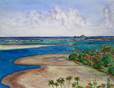 Poster featuring the painting Kaneohe Bay View From The Roof by Mukta Gupta