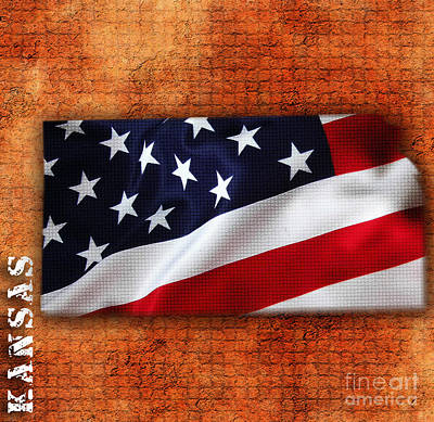 Kansas American Flag State Map Poster by Marvin Blaine