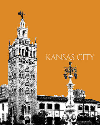 Kansas City Skyline 2 - Dark Orange Poster by DB Artist