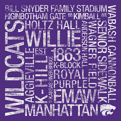 Kansas State College Colors Subway Art Poster