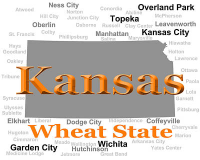 Kansas State Pride Map Silhouette  Poster by Keith Webber Jr