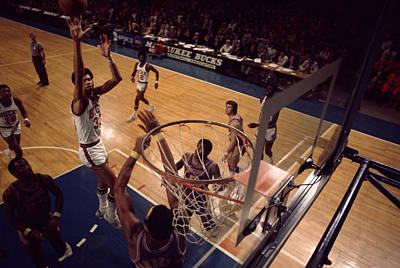 Kareem Abdul Jabbar Shoots Jumper Poster by Retro Images Archive