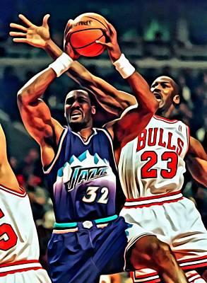 Karl Malone Vs. Michael Jordan Poster