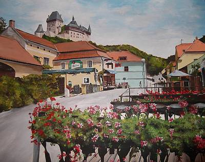 Poster featuring the painting Karlstejn Castle by Cherise Foster