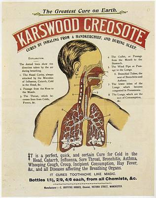 Poster featuring the photograph Karswood Creosote Medicine Vintage Ad by Gianfranco Weiss