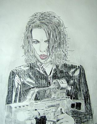Kate Beckinsale Underworld Drawing Poster