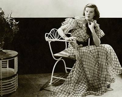 Katharine Hepburn Sitting On A Chair Poster by Lusha Nelson