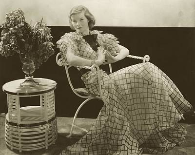 Katherine Hepburn Sitting In A Square Pattern Poster