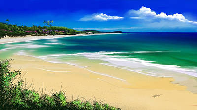 Poster featuring the digital art Kauai Beach Solitude by Anthony Fishburne