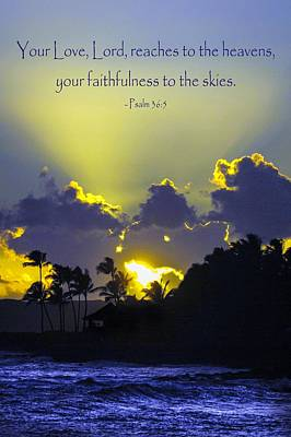 Kauai Sunset Psalm 36 5 Poster by Debbie Karnes