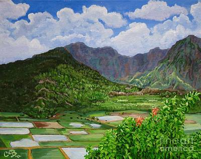 Poster featuring the painting Kauai Taro Fields by Chad Berglund