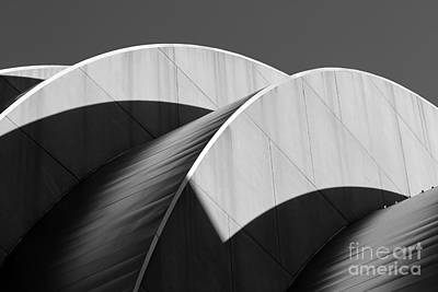 Kauffman Center Curves And Shadows Black And White Poster