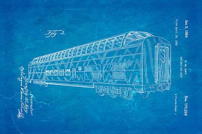 Kay Railway Car Patent Art 1954 Blueprint Poster