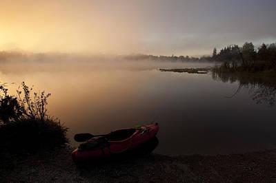 Kayak Along Shoreline Sunrise Lake Cassidy Poster