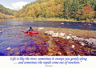 Kayaker Running A River Poster