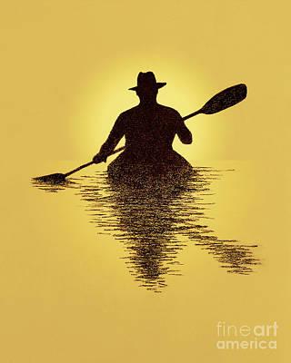Kayaker Sunset Poster