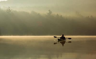 Kayaking At Sunup Poster