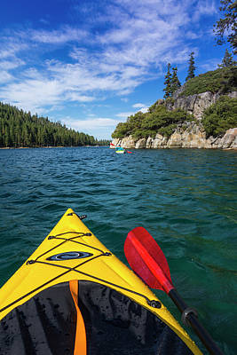 Kayaking In Emerald Bay At Fannette Poster