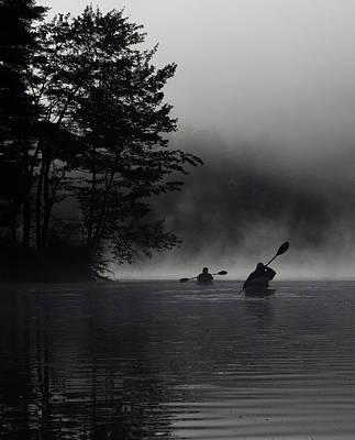 Kayaking In The Fog Poster
