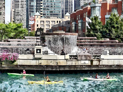 Kayaking On The Chicago River Near Centennial Fountain Poster by Susan Savad