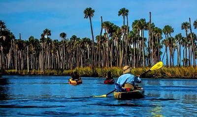 Kayaking Weeki Wachee Poster by Pamela Blizzard
