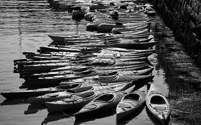 Kayaks At Rockport Black And White Poster