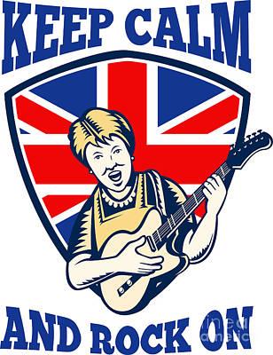 Keep Calm Rock On British Flag Queen Granny Guitar Poster by Aloysius Patrimonio