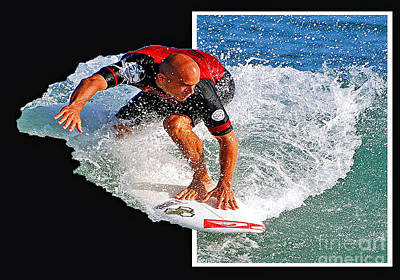 Kelly Slater Popping Out  Poster by Davids Digits