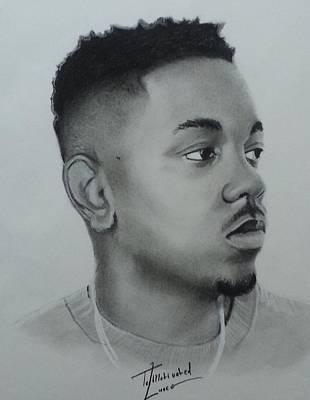 Kendrick Lamar Charcoal Poster by Lance  Freeman