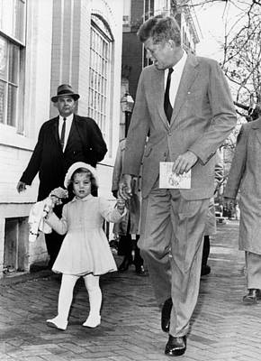 Kennedy And Daughter Caroline Poster by Underwood Archives