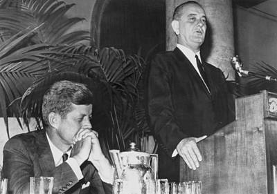 Kennedy Listens To Johnson Poster by Underwood Archives