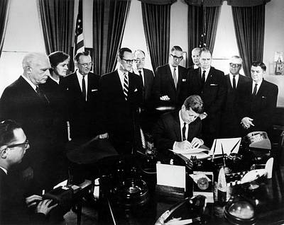 Kennedy Signing The 1962 Drug Amendments Poster
