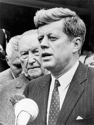 Kennedy With Konrad Adenauer Poster by Underwood Archives