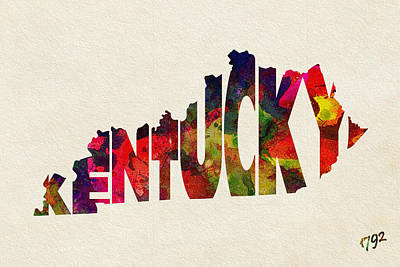 Kentucky Typographic Watercolor Map Poster by Ayse Deniz