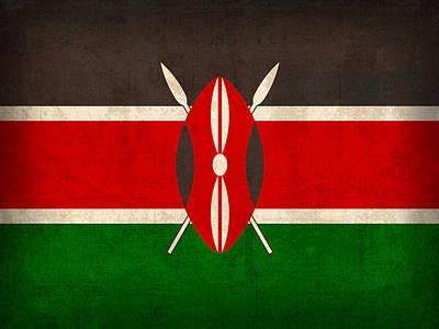 Kenya Flag Vintage Distressed Finish Poster by Design Turnpike