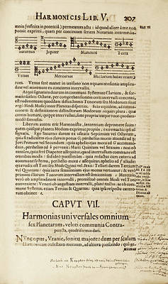 Kepler On Planetary Harmony Poster by Library Of Congress