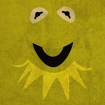 Kermit The Frog Vintage Minimalistic Illustration On Worn Distressed Canvas Series No 001 Poster by Design Turnpike
