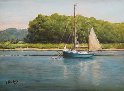 Poster featuring the painting Ketch At Anchor by Sandra Nardone