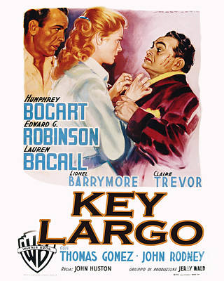 Key Largo Movie Poster Bogart And Bacall Poster by MMG Archive Prints