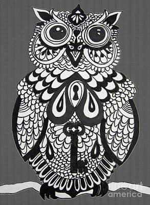 Key Owl Herringbone Poster