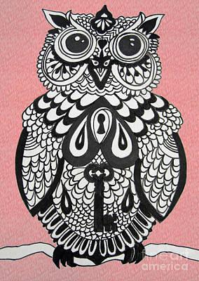 Key Owl Pink Poster