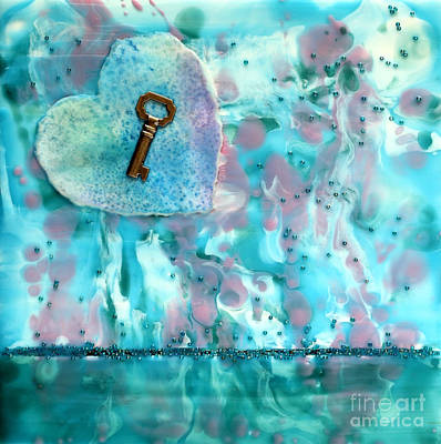 Key To My Heart Encaustic Poster by Pattie Calfy