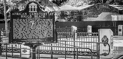 Key West African Cemetery 7 - Key West - Panoramic - Black And White Poster by Ian Monk