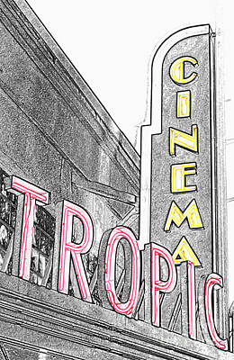 Key West Tropic Cinema Neon Art Deco Theater Signs Color Splash Colored Pencil Poster