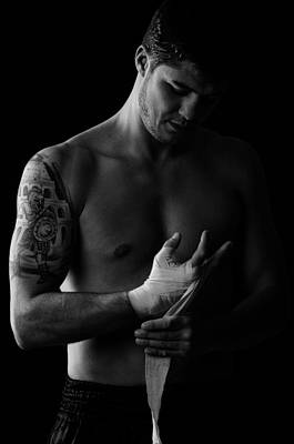Kick Boxer Preparing Poster by Onder Konuralp